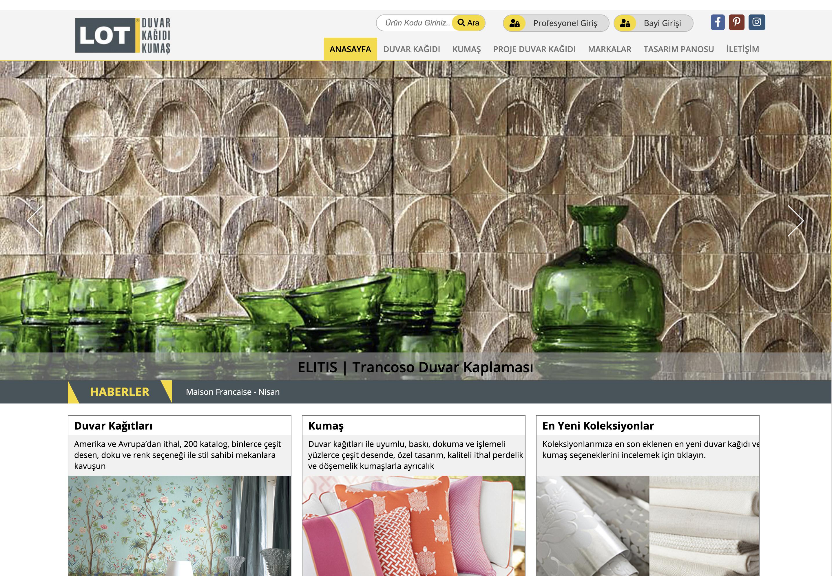 LOT Duvar Kağıdı Firması B2B bayi E-ticaret sitesi yayına girmiştir.